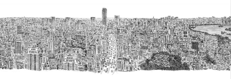 Tokyo panorama by Stephen Wiltshire